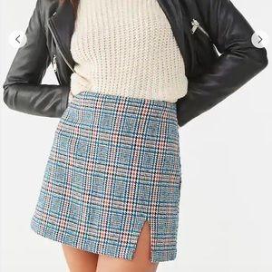 Forever 21 Tweed Glen Plaid Mini Skirt